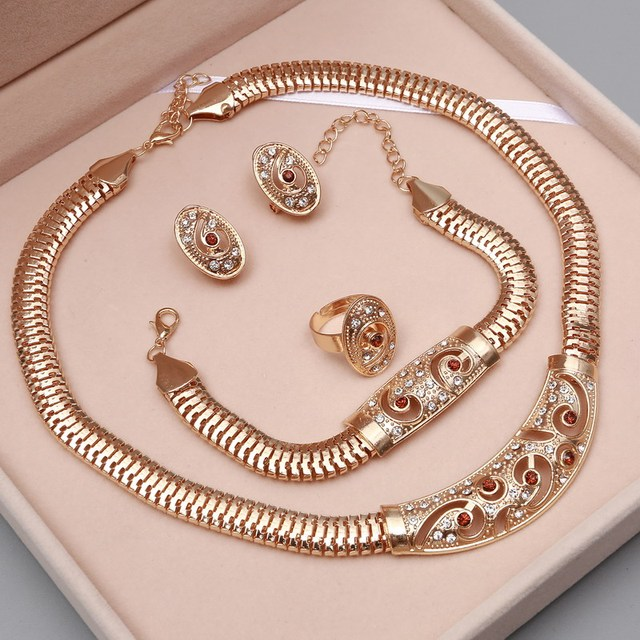 African Beads Gold Plated Jewelry Set
