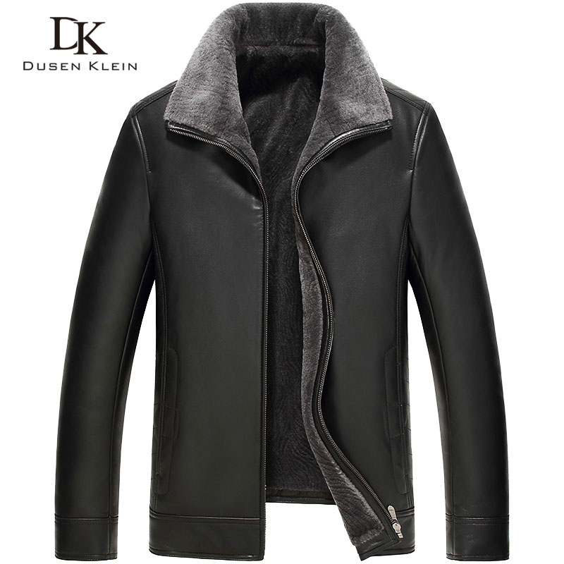 Men's leather Jacket wool liner Dusen Klein 2017 New Brand Genuine sheepskin wool collar Luxury male coat 61Z16016