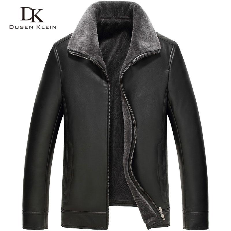 Mens leather Jacket wool liner Dusen Klein 2017 New Brand Genuine sheepskin wool collar Luxury male coat 61Z16016