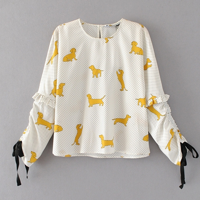 Women's Casual Dog Pattened Pullover Blouse