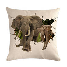 Cushion cover 3D pattern Dinosaurs and Mammoth linen cotton pillow case Home decorative Throw Pillow Cover 45X45Cm ZY492