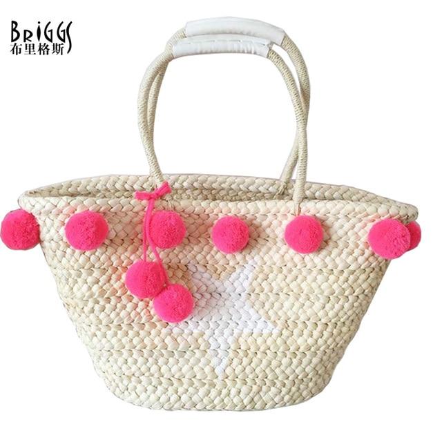 Aliexpress.com : Buy BRIGGS Fashion Straw Beach Bags Hand Knitting ...