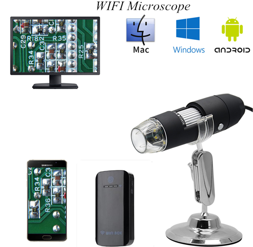 WIFI 1600X USB  Microscope For Science Inspection CMOS Borescope Handheld Endoscope|Surveillance Cameras| |  - title=