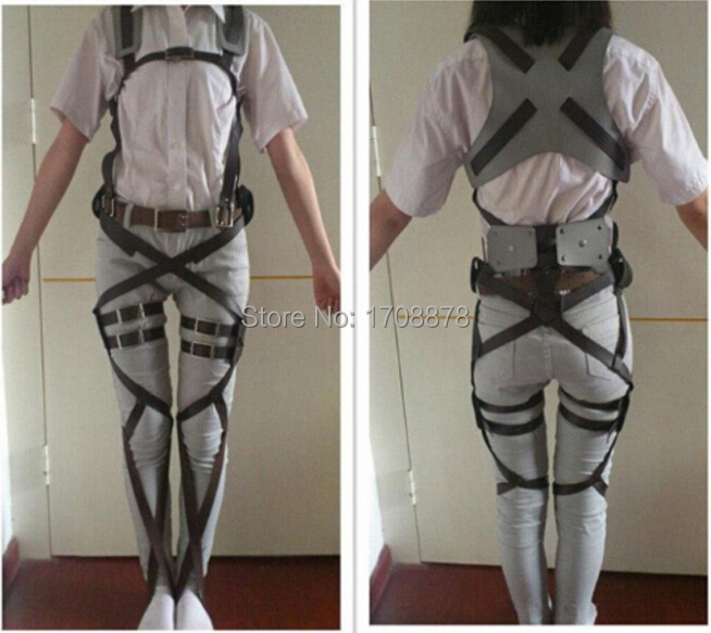 Anime Cosplay Attack on Titan Shingeki no Kyojin Recon Corps Harness belt hookshot Costume Adjustable Belts