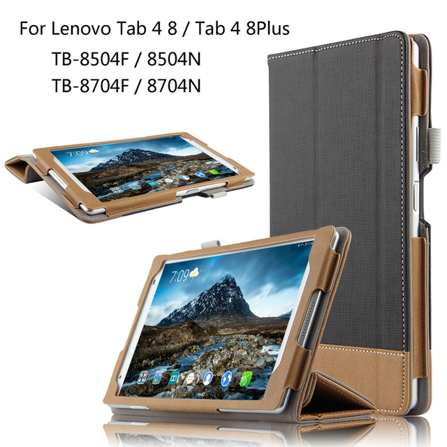 cheap for discount 80554 cdbf1 US $9.88 21% OFF|For Lenovo TAB 4 8 / 8 Plus TB 8704F/N TB 8504F/N 8.0 inch  Tablet Ultra Slim Canvas Folio Stand PU Leather Case Cover + Stylus-in ...