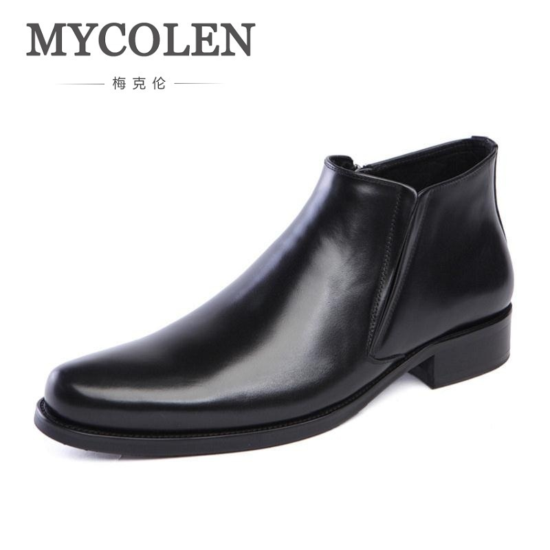 MYCOLEN New Mens Genuine Leather Boots Fashion Slip On Pointed Toe Ankle Shoes Men Leisure Business Office Work Boots Man lozoga new men shoes fashion boots ankle 100