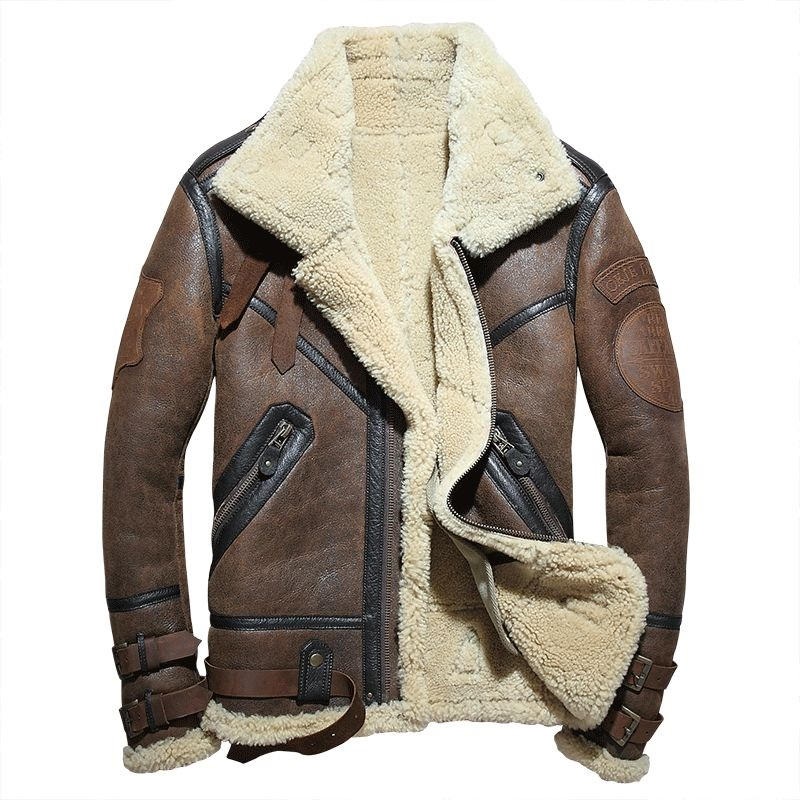 Fashion 100% Quality Real Sheepskin Fur Men Coat Genuine Full Pelt Sheep Shearling Male Winter Jacket Brown Men Fur Outwear(China)