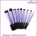 9pcs Super soft Taklon hair High Quality purple make up brushes set powder blush kabuki blush blending eye shadow liner angle