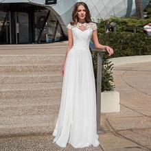 White Chiffon Cap Sleeves A-line Lace Appliques Beadings Floor Length Bridal Wedding Dress Robe De Mariee Sofuge Boho Dubai Arab