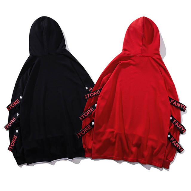 Fake 2 Pieces Ribbons Hooded Pullover 2