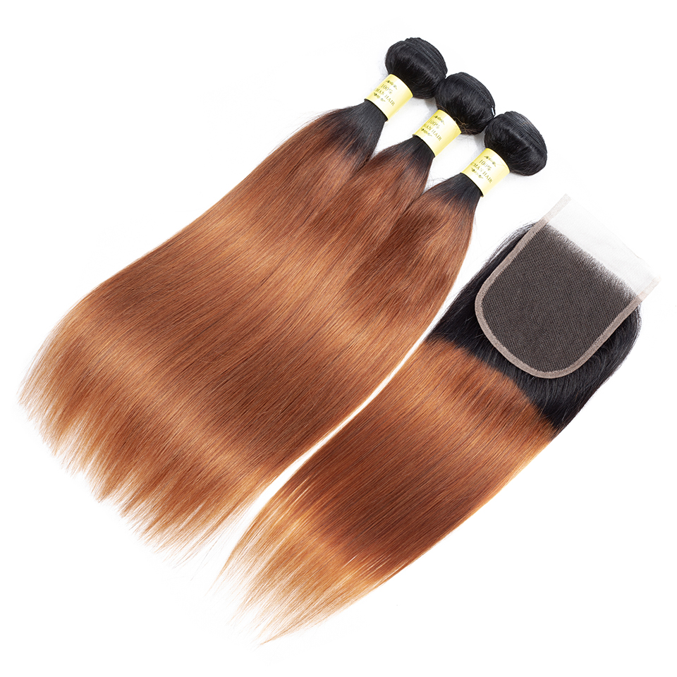 QueenLike Human Hair Products 3 4 Ombre Bundles With Closure Non Remy Color 1B 30 Peruvian Straight Hair Bundles With Closure