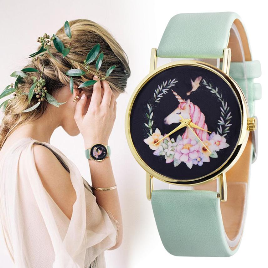 XINIU Fashion Women Girl Dress Watches Cute Unicorn Pattern PU Leather Band Analog Alloy Quartz Wrist Watch Relogio femininos цена и фото