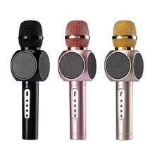 hot deal buy bluetooth wireless karaoke microphone portable music player speaker with mic recorder handheld microphones for home ktv box pack