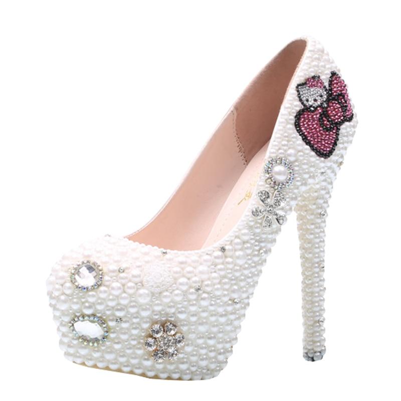 cute bow tie cat women diamonds wedding shoes female white pearls platform pumps sexy high