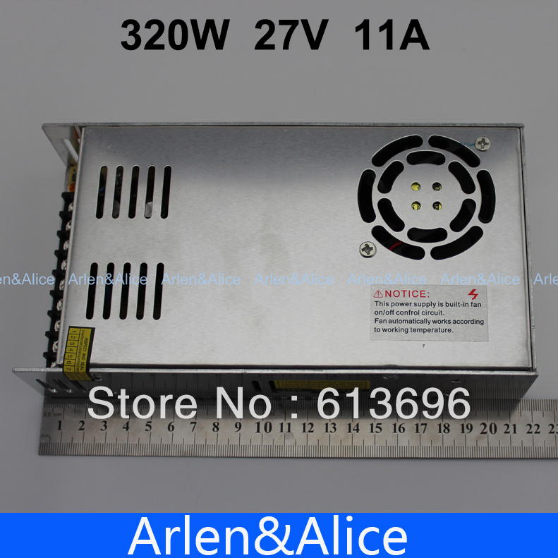 320W 27V 11A Single Output Switching power supply for LED Strip light AC to DC 110V 200V selected by switch 20w 24v 1a ultra thin single dc output switching power supply for led strip light smps