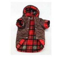 Купить с кэшбэком 7 Sizes Plaid Dog Clothes Winter Warm Dog Jacket Coat Both Side For Large Dog Bulldog Keji Samoyed Pet Costumes Clothing Overall