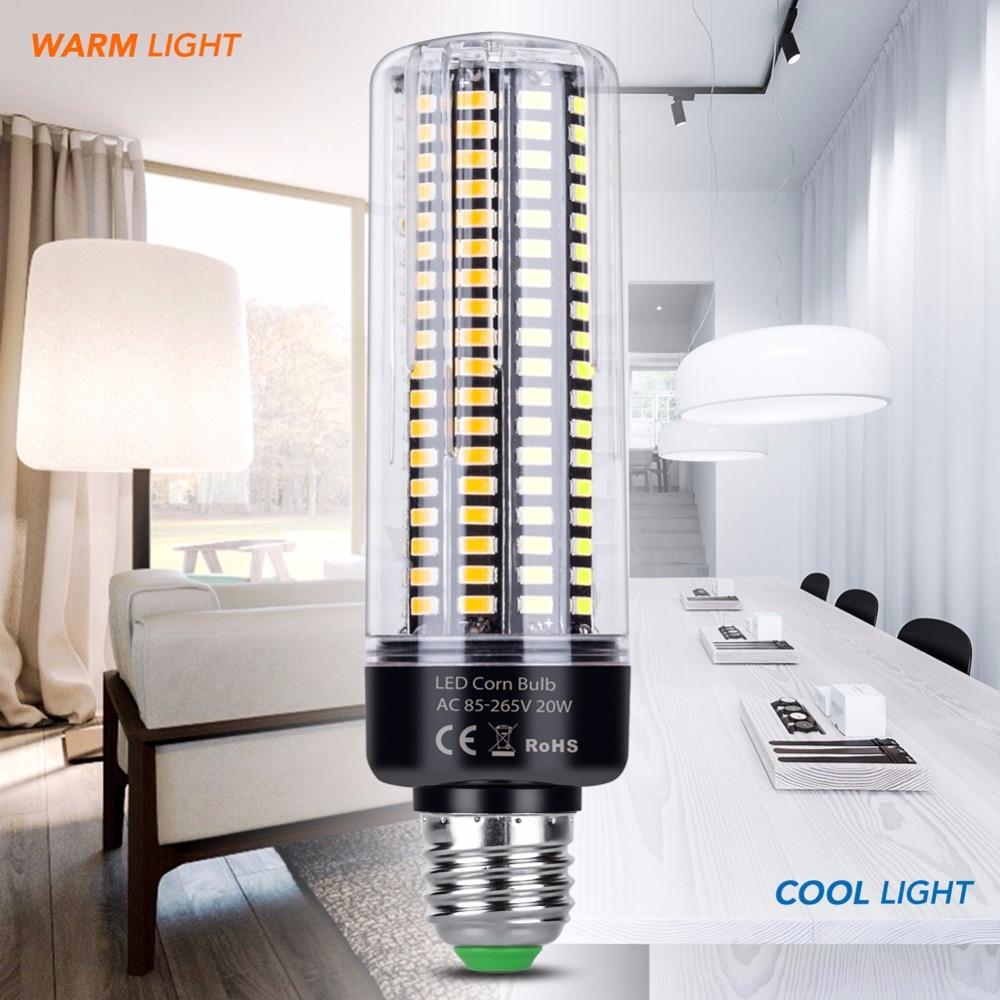 Led E27 Corn Lamp E14 15W AC 85-265V Power Led Bulb 5W 5736 SMD 20W Led Light 28 40 72 108 132 156 189leds No Flicker 360 Degree