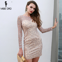 Missord 2018 Sexy O Neck Long Sleeve Women Elegant Dresses Glitter Mini Party Dress FT8692