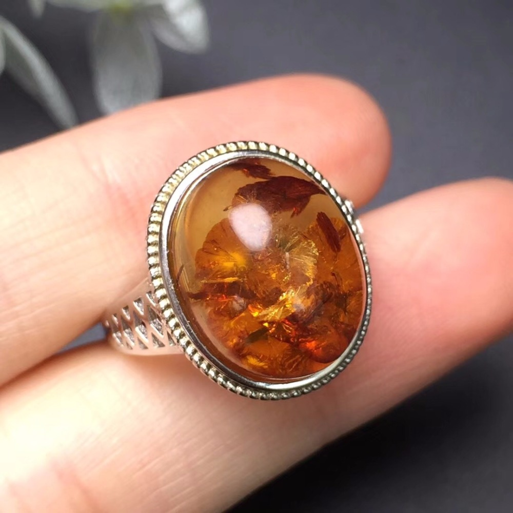 Fine Jewelry Real 925 Steling Silver s925 100% Natural Flower Amber Gemstones Female Rings Christmas Gift fine jewelry real 925 steling silver s925 100