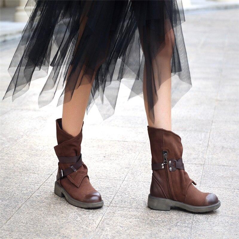 Noir Nouvelle Boucle Suédé Femme Rond En Bout Bottes dark Chaussures Vache Arrivée Cuir Brown Automne Cheville Mode De Femmes 2019 Martin Morazora Oqngw5Hg