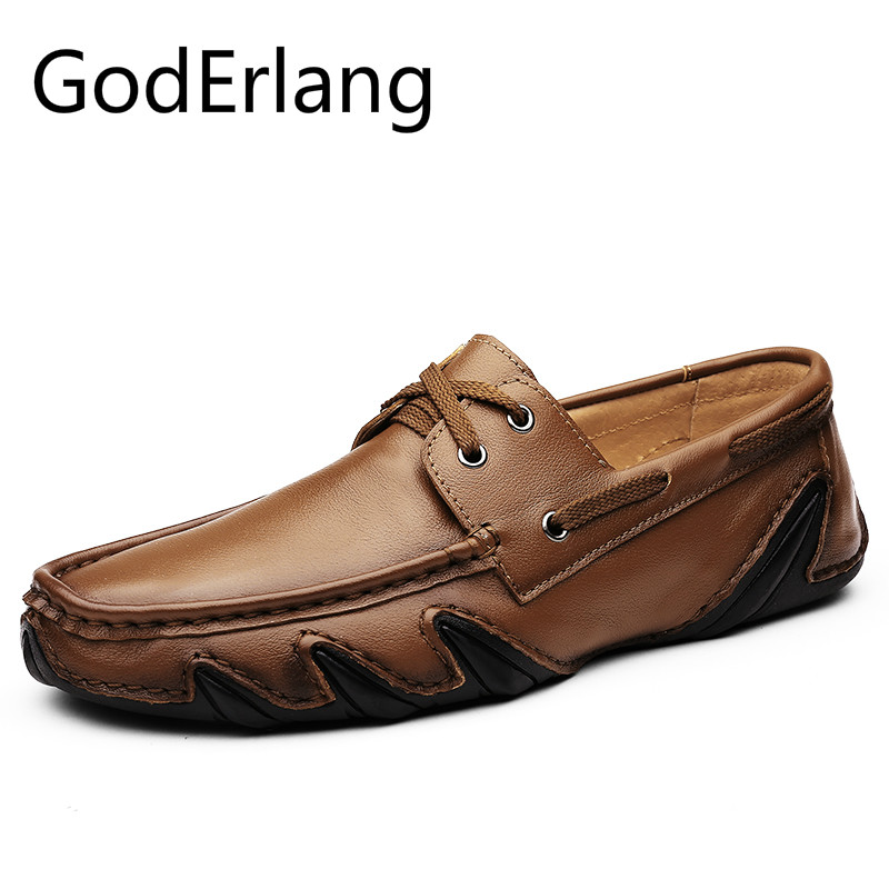 GodErlang Men Shoes Casual Genuine Leather Moccasin Loafers Designer Slip on Flat Boat Shoes Male Fashion Big Size 45 46 Luxury 2016 men s casual crocodile genuine leather boat shoes slip on velvet loafers moccasin fashion flat shoes men s loafer shoes new