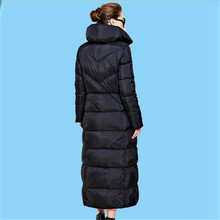 Europe 2017 Winter New Fashion Women Casual Coat Down Jacket Temperament Thick Warm Black Loose Big yards Long Women Coat G0237