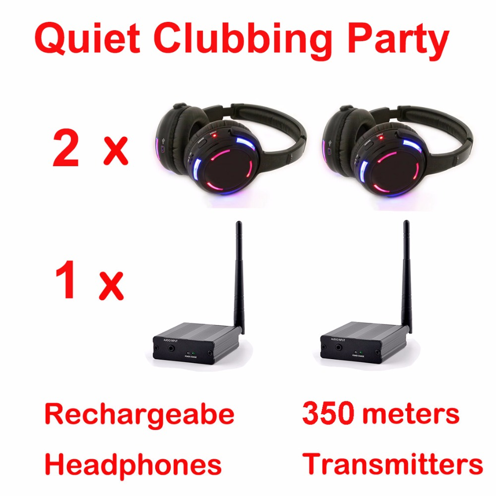 Silent Disco compete system black led wireless headphones – Quiet Clubbing Party Bundle (2 Headphones + 1 Transmitters)