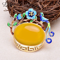 Girl S Pendant Vintage Ellipse Amber Pendants Necklace Cloisonne Bird Kiss Tree Flower Charms Findings DIY