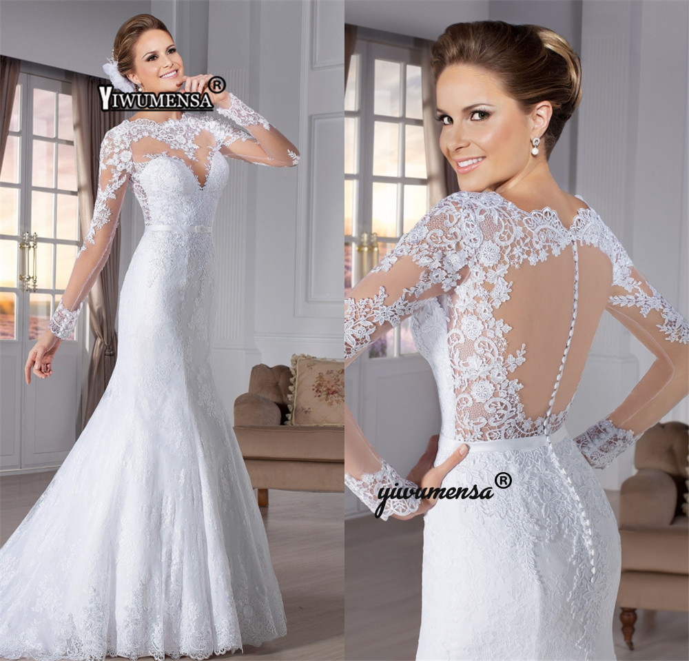 Cheap Mermaid Wedding Dresses Robe De Mariage White Long Sleeves Bridal Gowns Illusion Wedding Dress Birde