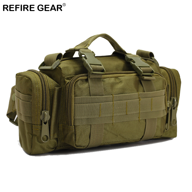 Refire Gear Outdoor Waist Bag Hiking Camouflage Nylon Waist Pack Molle Pouch Belt Loops  ...