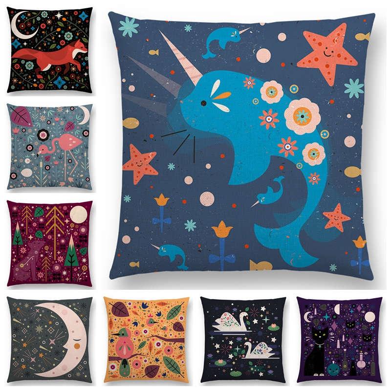 Table & Sofa Linens Provided Hot Sale Cute Cartoon Animals Flowers Leaf Moon Stars Night Sky Fox Flamingo Cat Cygnus Bird Narwhal Cushion Cover Pillow Case Crazy Price Cushion Cover