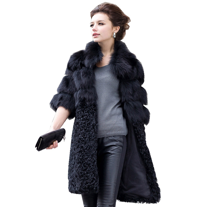Luxe véritable naturel fourrure de renard manteau veste agneau fourrure Patchwork hiver femmes fourrure Trench manteaux pour vêtements de dessus grande taille VK1497