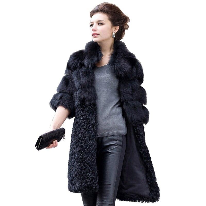 Luxo Genuine Natural Fox Fur Jaqueta Casaco de Retalhos de Pele De Cordeiro Inverno Mulheres Fur Trench Coats Casacos Plus Size VK1497