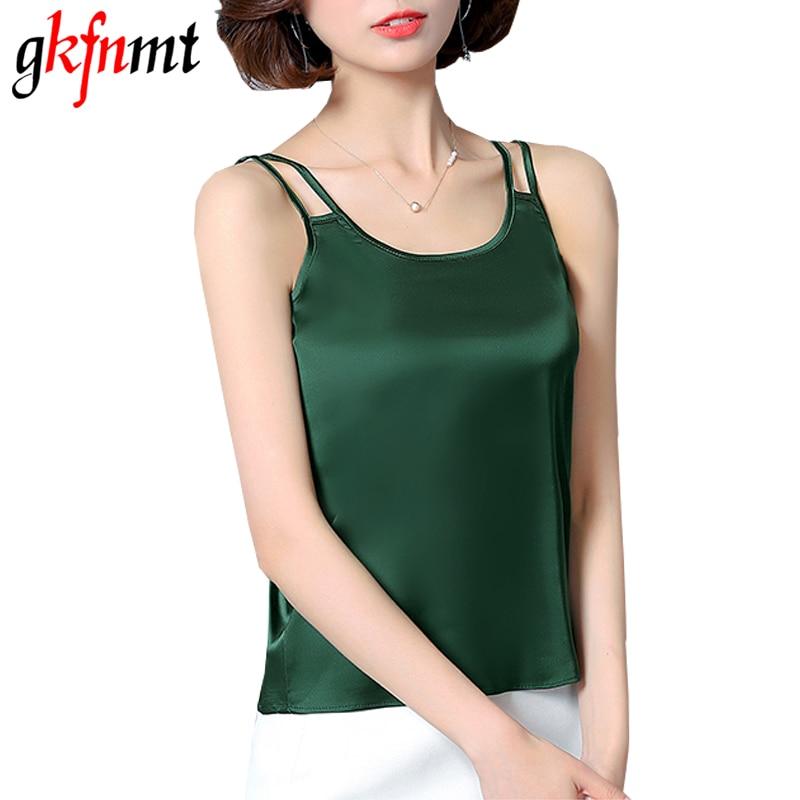 gkfnmt Summer Women   Tank     Tops   2018 Fashion Silk blouse Slim Sleeveless blusa feminina Cool Tees shirts Plus Size 3XL