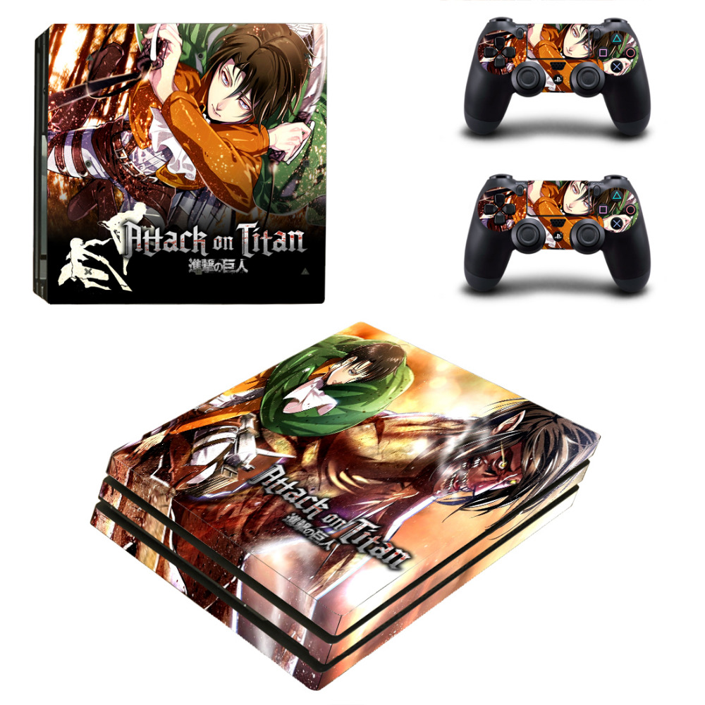 Attack On Titan PS4 Pro Skin Sticker Decal for PlayStation 4 Console and 2 Controller PS4 Pro Skin Sticker Vinyl