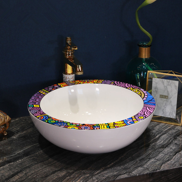 Large Rims China Painting Ceramic Painting Art Lavabo Bathroom Vessel Sinks  Round Countertop Bathroom Sink Bowls