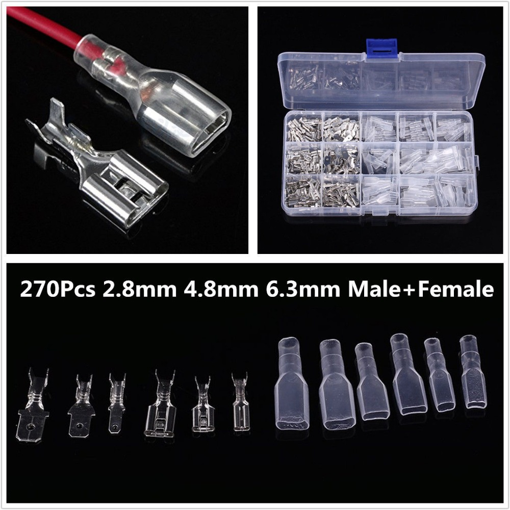 270pcs Male Female Spade Connector Wire Crimp Terminal W//Insulating Sleeve Kits