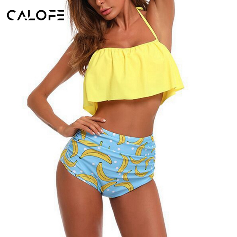 CALOFE High Waist Swimsuit 2018 Summer Sexy Bikinis Women Swimwear Ruffle Vintage Bandeau Print Bottom Bikini Set Bathing Suits