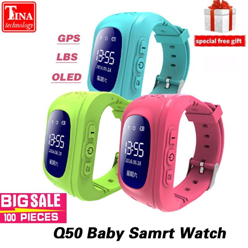 Tela OLED Q50 Garoto Relógio Chamada SOS Localizador Localizador Rastreador GPS Inteligente para Childreb Anti Perdido Bebê Monitor de relógio de Pulso