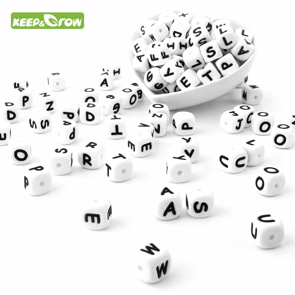 KEEP&GROW 10Pc Alphabet Letter Beads Food Grade Silicone Chewing Beads 12mm For Necklace 26Letters Silicone Letter Teething Bead