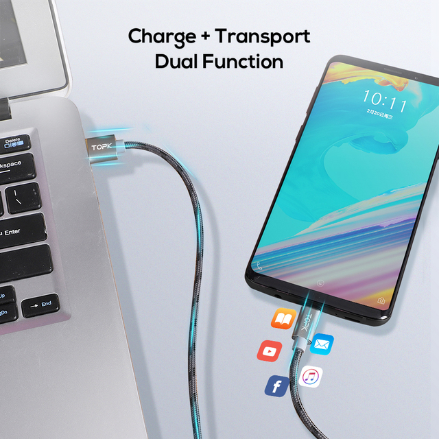 TOPK USB Type C Cable for Xiaomi Redmi Note 7 Mi 9 Fast Charging Data Sync USB C Cable for Samsung Galaxy S9 Oneplus 6t Type-C
