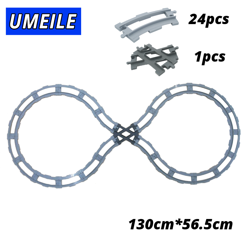 UMEILE Train Track Carriage Wagon Cross/Straight/Curved transfer Rail Big Building Blocks Toys Compatible with Legoing Duplo