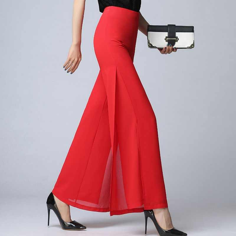 High Elastic Waist Straight Pants Elegant Summer Chiffon Wide Leg Workwear Trousers Women Black Red White Office Ladies Pants