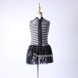 Для девочек Для женщин полосатый кружева молния Латинской платье для детей и взрослых модный современный танцевальный костюм C135