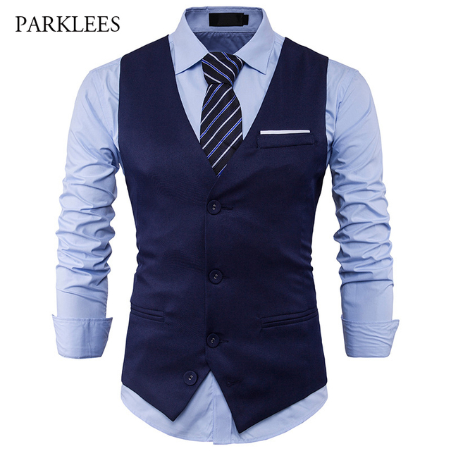 534623ba4563 Leisure Mens Suit Vest Formal Occasions Waistcoat Basic Three Buttons Vests  For Men Slim Fit Black Sleeveless Formal Gilet Homme