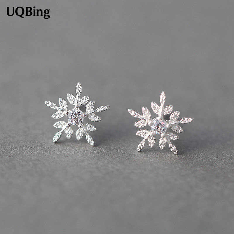Free Shipping Fashion Silver Snowflake Stud Earrings 925 Sterling Silver Earrings Jewelry Pendientes Brincos