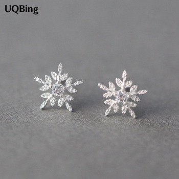 Free Shipping Fashion Silver Snowflake Stud Earrings 925 Sterling Jewelry Pendientes Brincos