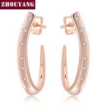 Высококачественные серьги-гвоздики ZYE598 с кристаллами розового золота, ювелирные изделия с австрийским кристаллом