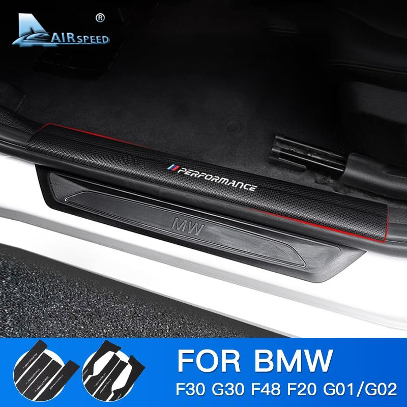 Carbon Fiber Leather Car Door Sill Scuff Plate Guard Sills ...