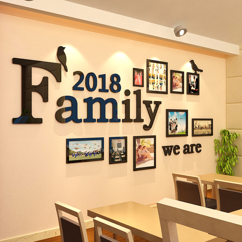 Creative Family photo wall 3D Acrylic wall stickers Team culture Wall sticker Company office Living Room wall decoration Decal